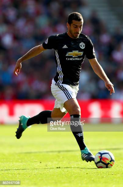 Henrikh Mkhitaryan of Manchester United in action during the Premier League match between Southampton and Manchester United at St Mary's Stadium on...
