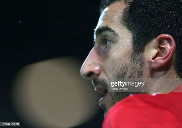 Henrikh Mkhitaryan of Manchester United in action during the Premier League match between Manchester United and Brighton and Hove Albion at Old...