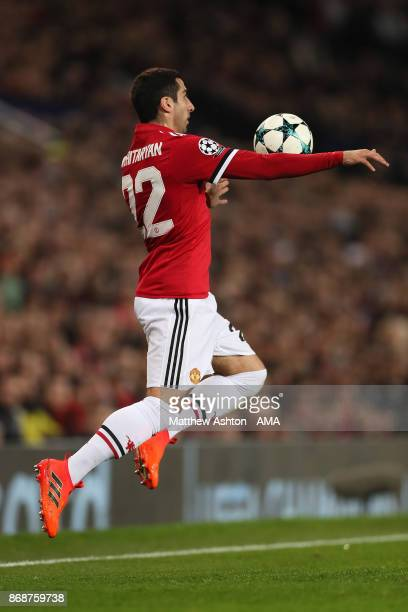Henrikh Mkhitaryan of Manchester United in action during the UEFA Champions League group A match between Manchester United and SL Benfica at Old...