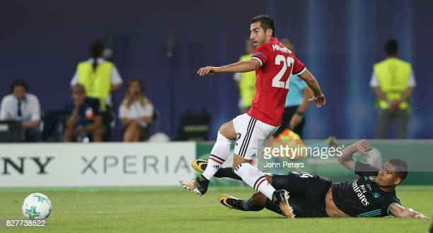 Henrikh Mkhitaryan of Manchester United in action with Casemiro of Real Madrid during the UEFA Super Cup match between Real Madrid and Manchester...