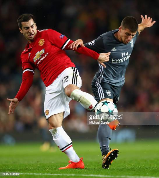 Henrikh Mkhitaryan of Manchester United is fouled by Ruben Dias of Benfica during the UEFA Champions League group A match between Manchester United...