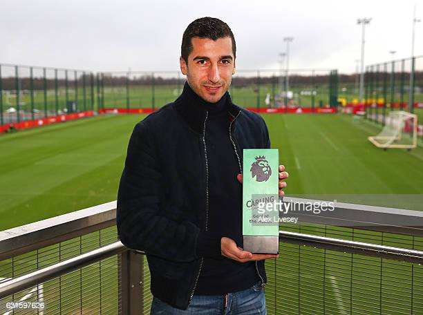 Henrikh Mkhitaryan of Manchester United is presented with the Carling Premier League Goal of the Month Award at Aon Training Complex on January 12...