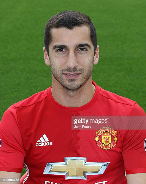 Henrikh Mkhitaryan of Manchester United poses for a portrait at the Manchester United Official Photocall on September 19 2016 in Manchester England