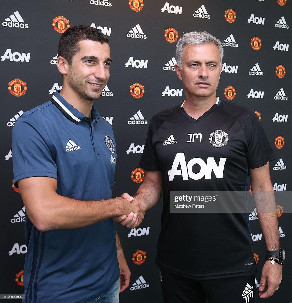 Manchester United Unveil New Signing Henrikh Mkhitaryan : News Photo