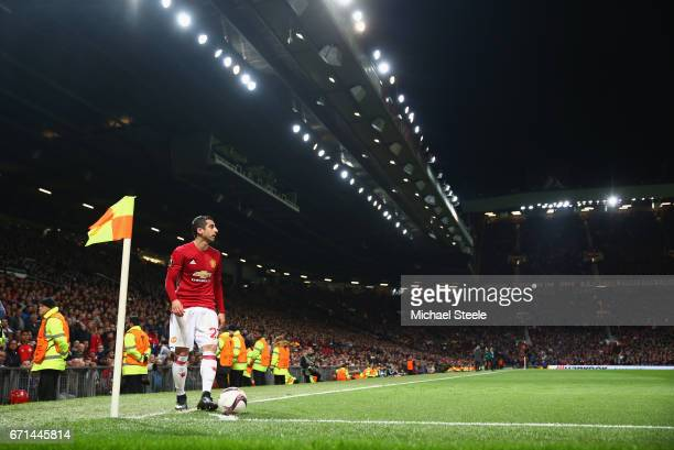 Henrikh Mkhitaryan of Manchester United prepares to take a corner during the UEFA Europa League quarter final second leg match between Manchester...