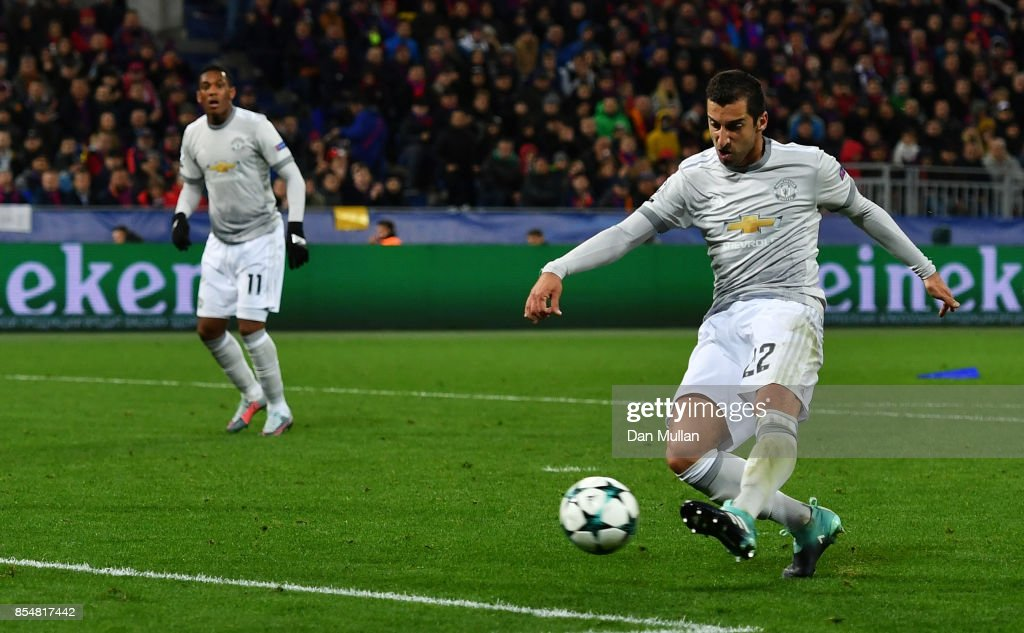 Henrikh Mkhitaryan of Manchester United scores his sides fourth goal during the UEFA Champions League group A match between CSKA Moskva and Manchester United at WEB Arena on September 27, 2017 in Moscow, Russia.