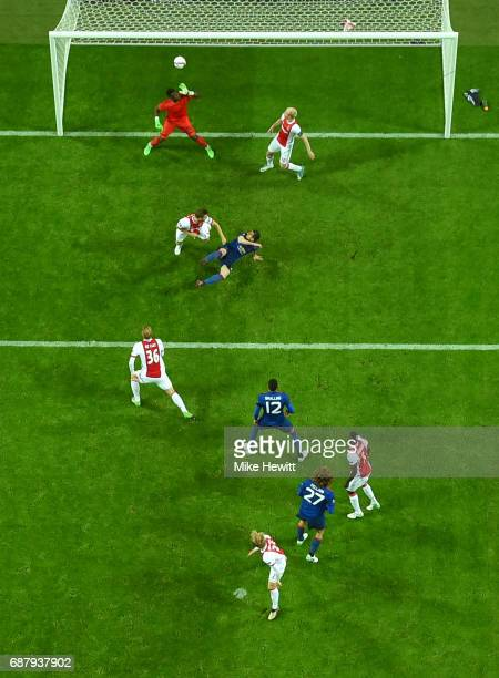 Henrikh Mkhitaryan of Manchester United scores his sides second goal during the UEFA Europa League Final between Ajax and Manchester United at...
