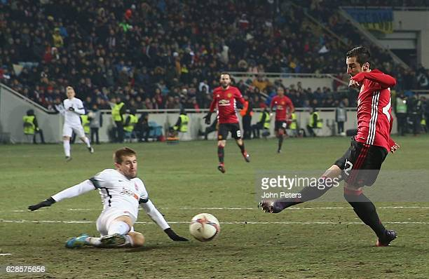 Henrikh Mkhitaryan of Manchester United scores their first goal during the UEFA Europa League match between FC Zorya Luhansk and Manchester United at...