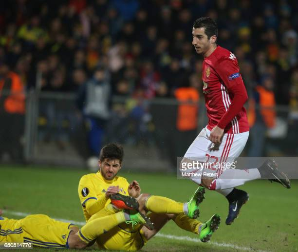 Henrikh Mkhitaryan of Manchester United scores their first goal during the UEFA Europa League Round of 16 first leg match between FK Rostov and...