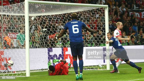 Henrikh Mkhitaryan of Manchester United scores their second goal during the UEFA Europa League Final match between Manchester United and Ajax at...