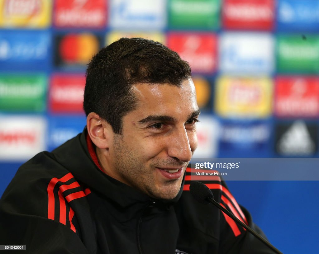 Henrikh Mkhitaryan of Manchester United speaks during a press conference ahead of their UEFA Champions League match against CSKA Moscow at VEB Arena on September 26, 2017 in Moscow, Russia.