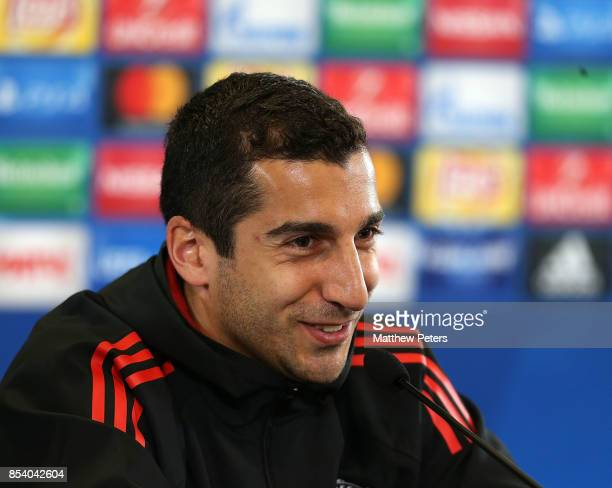 Henrikh Mkhitaryan of Manchester United speaks during a press conference ahead of their UEFA Champions League match against CSKA Moscow at VEB Arena...