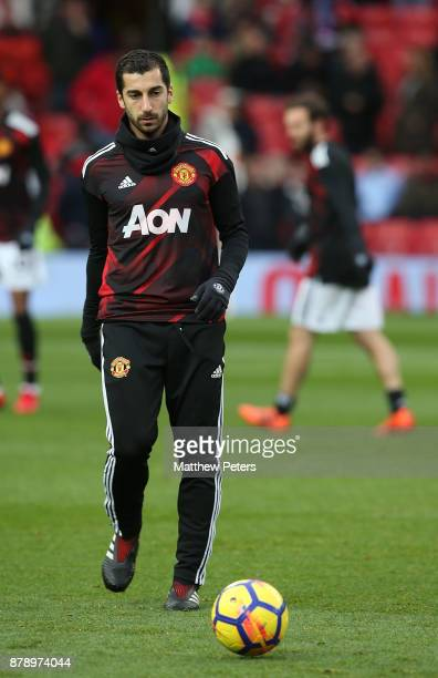 Henrikh Mkhitaryan of Manchester United warms up ahead of the Premier League match between Manchester United and Brighton and Hove Albion at Old...