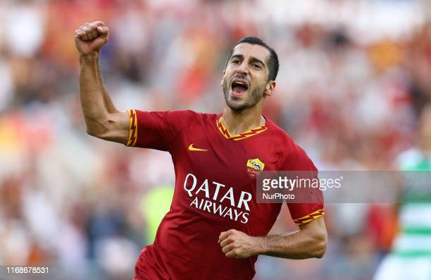 Henrikh Mkhitaryan of Roma celebrates after scoring during the Serie A match AS Roma v US Sassuolo at the Olimpico Stadium in Rome, Italy on...