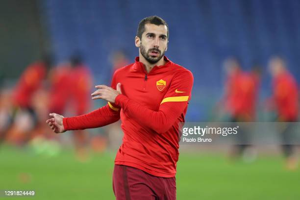 Henrikh Mkhitaryan of Roma warms up ahead of the Serie A match between AS Roma and Torino FC at Stadio Olimpico on December 17, 2020 in Rome, Italy....