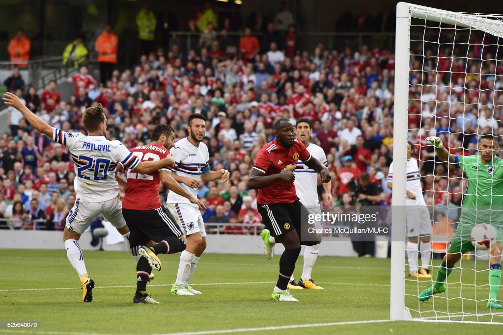Henrikh Mkhitaryan scores with a header of Manchester United during the Aon Tour pre season friendly game between Manchester United and Sampdoria at Aviva Stadium on August 2, 2017 in Dublin, Ireland.