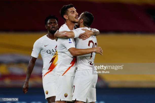 Henrikh Mkhitaryan with his teammates of AS Roma celebrates after scoring the team's first goal during the Serie A match between AS Roma and Parma...