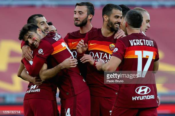 Henrikh Mkhitaryan with his teammates of AS Roma celebrates after scoring the team's second goal during the Serie A match between AS Roma and Parma...