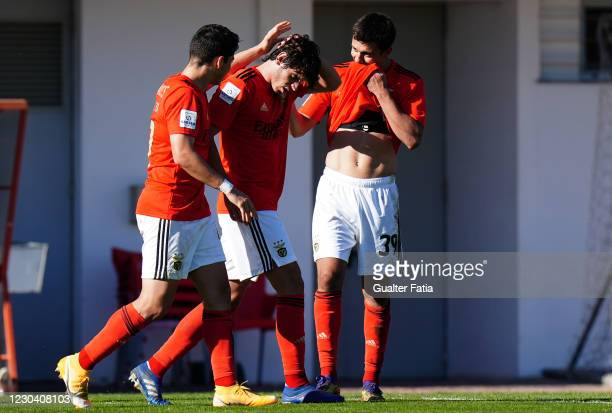 Henrique Araujo of SL Benfica B celebrates with teammates after scoring a goal during the Liga 2 Sabseg match between SL Benfica B and UD Oliveirense...