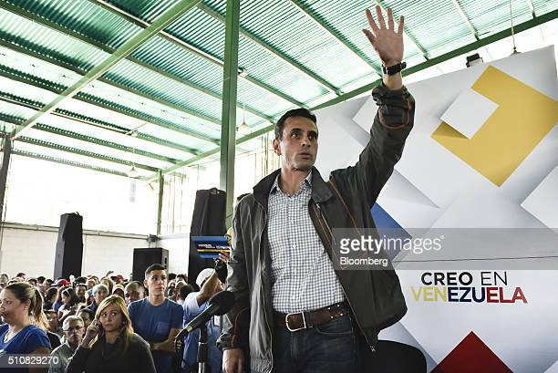 Henrique Capriles an opposition leader and twotime presidential candidate gestures during a news conference on the economy in Caracas Venezuela on...