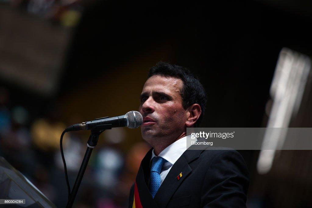 Opposition Leader Henrique Capriles Delivers Last Speech As Governor