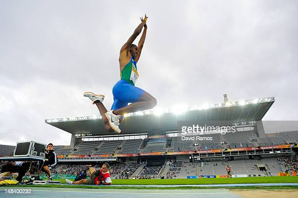 Henrique da Silva of Brazil competes in the Men's Triple Jump Final on day six of the 14th IAAF World Junior Championships at Estadi Olimpic Lluis...
