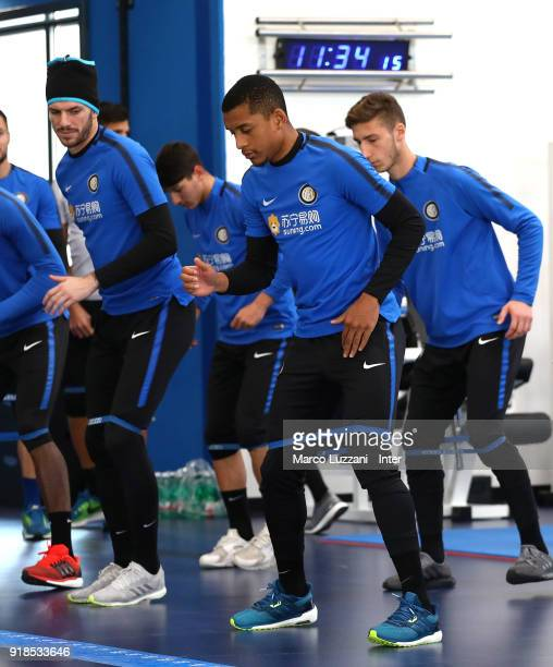 Henrique Dalbert and Davide Santon of FC Internazionale train during the FC Internazionale training session at the club's training ground Suning...
