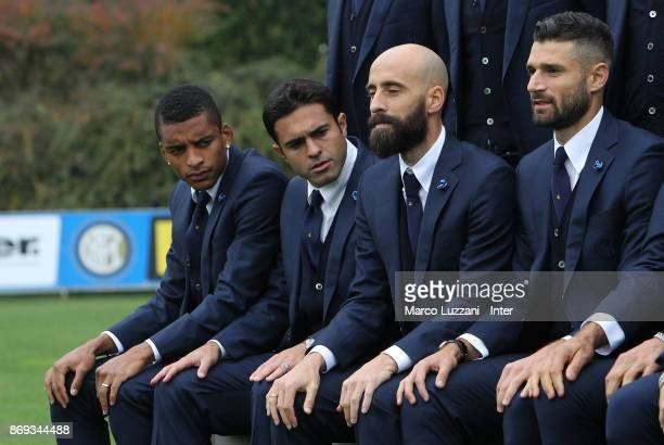 Henrique Dalbert Eder Citadin Martins Borja Valero of FC Internazionale back stage during the FC Internazionale Official Photoshoot at the club's...