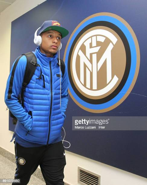 Henrique Dalbert of FC Internazionale arrives prior to the TIM Cup match between FC Internazionale and Pordenone at Stadio Giuseppe Meazza on...