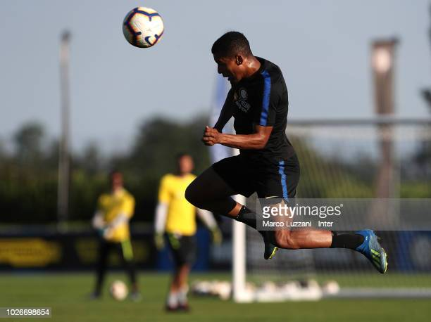 Henrique Dalbert of FC Internazionale heads the ball in the air during the FC Internazionale training session at the club's training ground Suning...