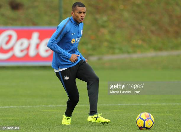 Henrique Dalbert of FC Internazionale in action during the FC Internazionale training session at the club's training ground 'La Pinetina' on November...