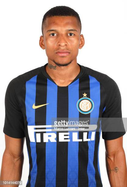 Henrique Dalbert of FC Internazionale poses with the club shirt at the club's training ground Suning Training Center in memory of Angelo Moratti on...