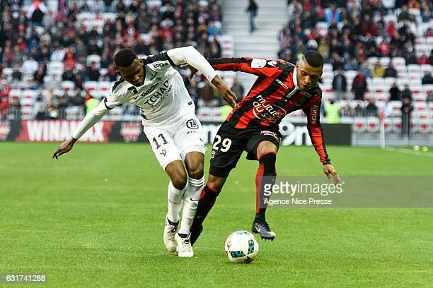 Henrique Dalbert of Nice and Opa N'Guette of Metz during the Ligue 1 match between OGC Nice and Fc Metz at Stade Municipal du Ray on January 15 2017...