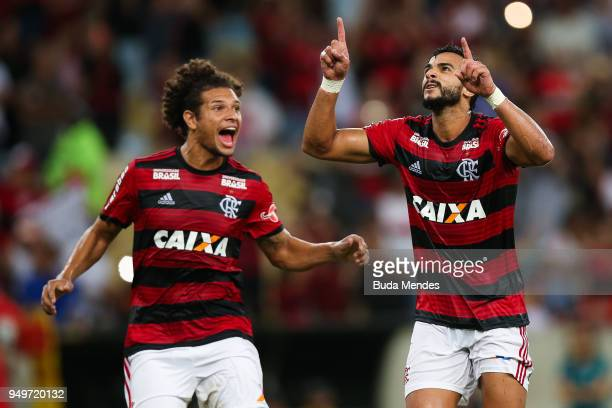 Henrique Dourado of Flamengo celebrates a scored goal against America MG during a match between Flamengo and America MG as part of Brasileirao Series...