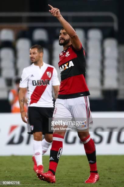 Henrique Dourado of Flamengo celebrates a scored goal against River Plate during a match between Flamengo and River Plate as part of Copa CONMEBOL...