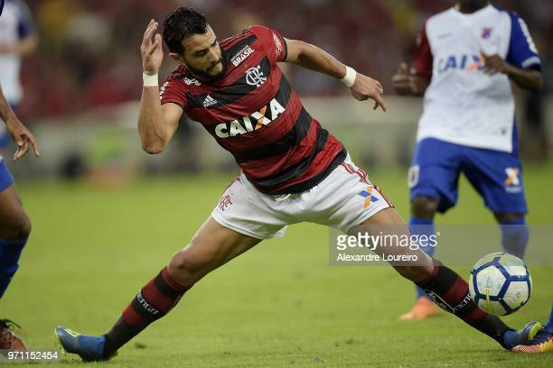 Henrique Dourado of Flamengo in action during the match between Flamengo and Parana Clube as part of Brasileirao Series A 2018 at Maracana Stadium on...