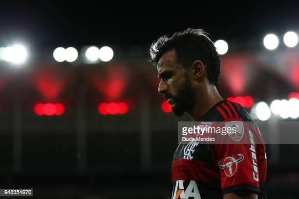 Henrique Dourado of Flamengo looks on during a match between Flamengo and Santa Fe as part of Copa CONMEBOL Libertadores 2018 at Maracana Stadium on...