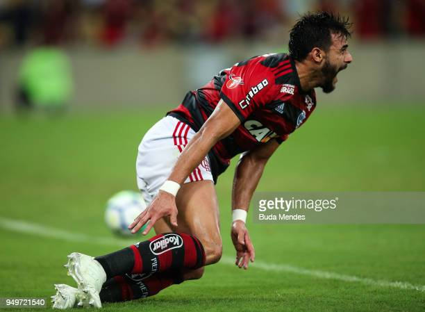 Henrique Dourado of Flamengo reacts during a match between Flamengo and America MG as part of Brasileirao Series A 2018 at Maracana Stadium on April...