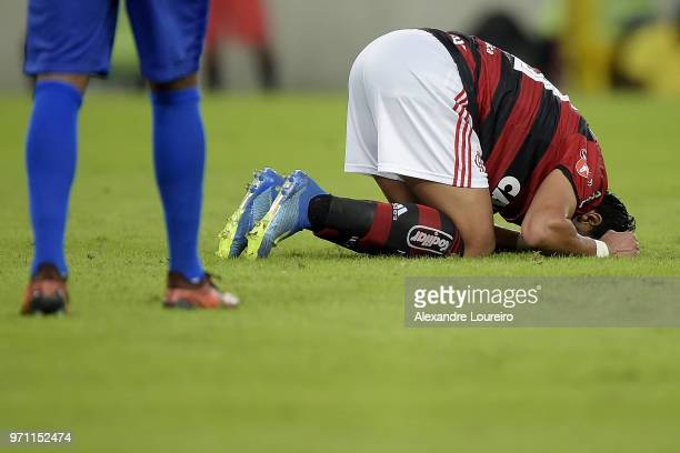Henrique Dourado of Flamengo reacts during the match between Flamengo and Parana Clube as part of Brasileirao Series A 2018 at Maracana Stadium on...