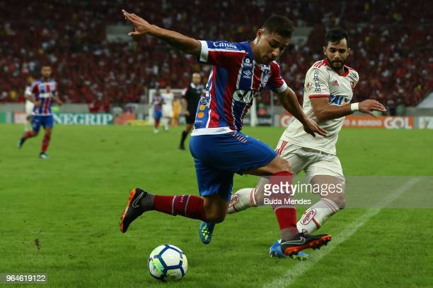 Henrique Dourado of Flamengo struggles for the ball with Joao Pedro of Bahia during a match between Flamengo and Bahia as part of Brasileirao Series...