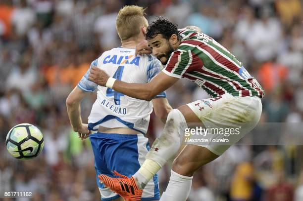 Henrique Dourado of Fluminense battles for the ball with Alemãoof Avai during the match between Fluminense and Avai as part of Brasileirao Series A...