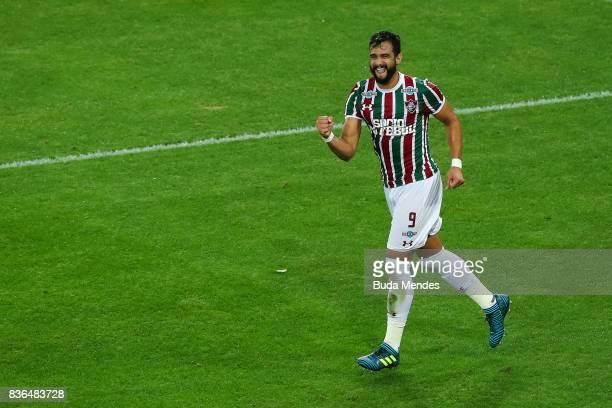 Henrique Dourado of Fluminense celebrates a scored goal against Atletico MG during a match between Fluminense and Atletico MG part of Brasileirao...