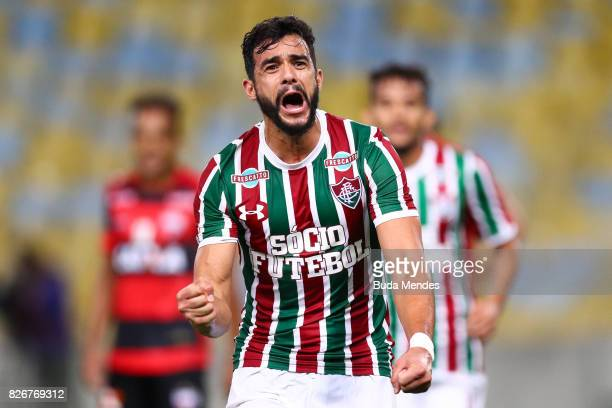 Henrique Dourado of Fluminense celebrates a scored goal during a match between Fluminense and Atletico GO as part of Brasileirao Series A 2017 at...