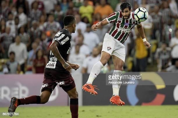 Henrique Dourado of Fluminense in action during the match between Fluminense and Sao Paulo as part of Brasileirao Series A 2017 at Maracana Stadium...