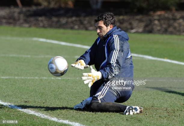 Henrique Hilario of Chelsea during a training session at the Cobham Training ground on March 5, 2010 in Cobham, England.
