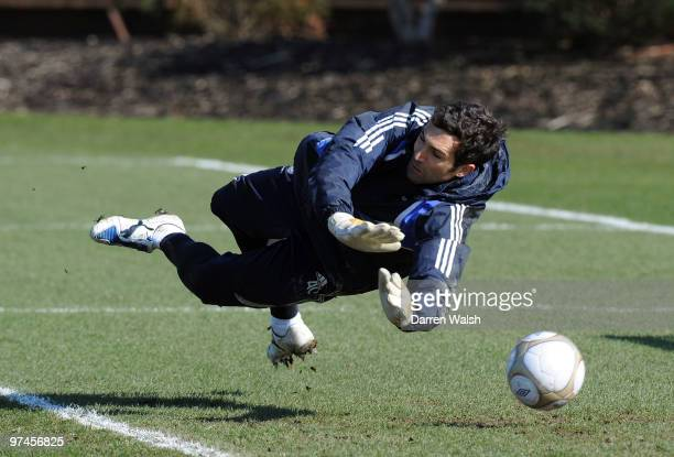 Henrique Hilario of Chelsea in action during a training session at the Cobham Training ground on March 5, 2010 in Cobham, England.