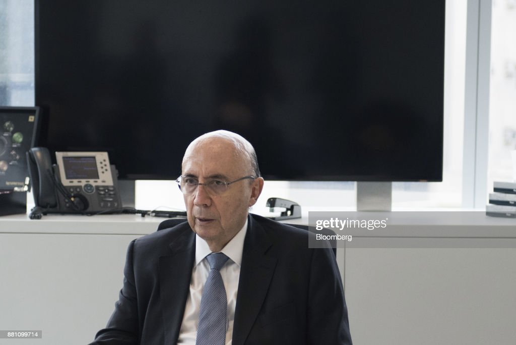 Henrique Meirelles, Brazil's minister of finance, pauses while speaking during an interview in Sao Paulo, Brazil, on Monday, Nov. 27, 2017. Brazil's recovery from its deepest recession ever picked up in the third quarter and requires no more stimulus, Meirelles said. Photographer: Tommaso Rada/Bloomberg via Getty Images