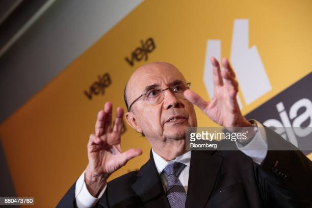 Henrique Meirelles Brazil's minister of finance speaks during the Veja Political Summit in Sao Paulo Brazil on Monday Nov 27 2017 Meirelles commented...
