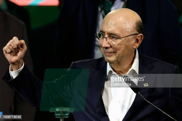 Henrique Meirelles gestures during the launching of his candidacy for the presidency of Brazil for October's national election during the national...