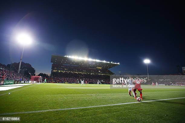 Henrique of Adelaide United wins the ball during the round three A-League match between Adelaide United and Melbourne Victory at Coopers Stadium on...